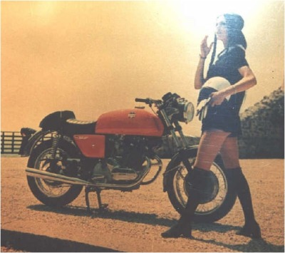Vintage motolady and Laverda motorcycle.