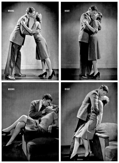 "wnycradiolab:  crowsnestcottage:   proper kissing procedure.   From Life Magazine, 1942.  More info here.  Fellas, please note: ""The girl should sit on the arm of the chair and the boy should hold her firmly but lightly."""