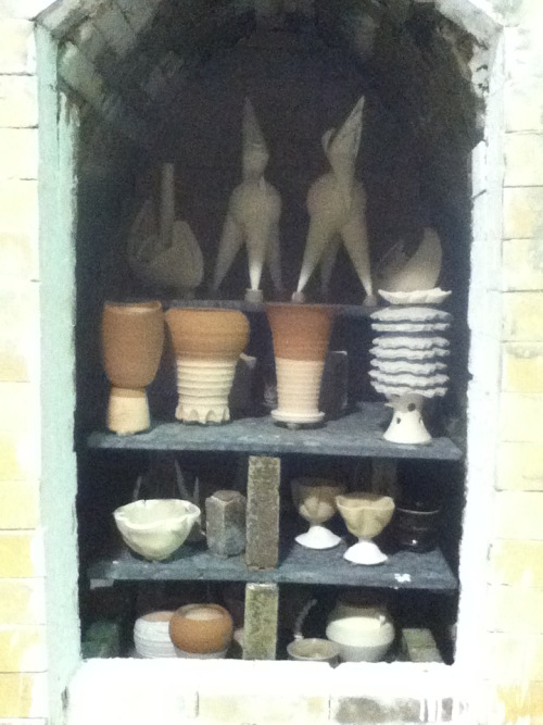 A very busy weekend past. This was the soda kiln at IUPUI. It fired off right before we loaded up the wood kiln making for a very long weekend with amazing results. Check out my Facebook page at TRCeramics for the results of this kiln.