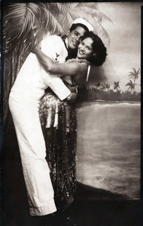 """ Sailor & Girlfriend — Hawaii, 1940's ""  …  Studio Photo"