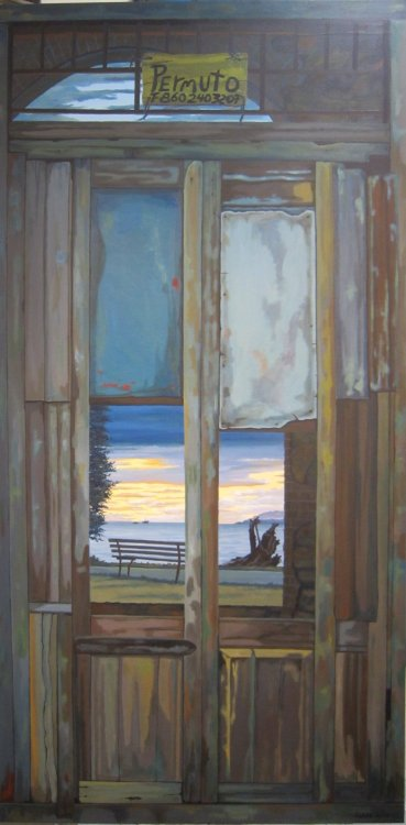 Vancouver Through Cuban Windows, a painting by Isaac John Lewis, seen on this year's Culture Crawl. Isaac John Lewis has often depicted the decaying walls and windows of Havana in his paintings; in this series, scenic views from the City of Vancouver have been juxtaposed into view.