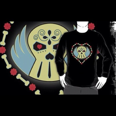 @GLOWING_SKULL #merchandise #concept #Design #art by @DeniseVasquez available on @Redbubble #skull #angel #love