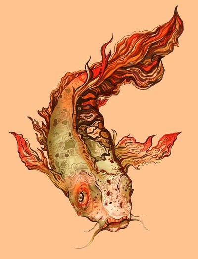 eatsleepdraw:  Koi by S.G.DeCarlo This is a Prismacolor pen drawing on paper.