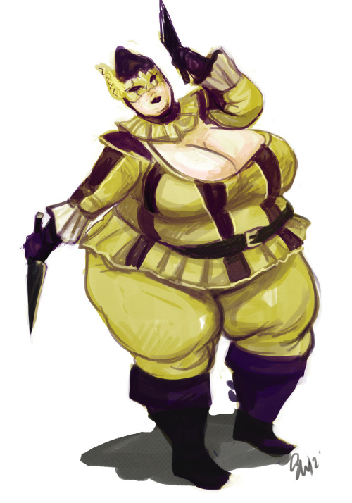 Hellequine from Assassin Creed fattened up for KillerCustard Francis for RockyJoe, HokageIzlude, WildTengu, you know the guy. More Sketch commissions.