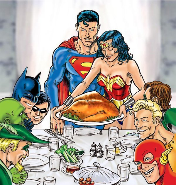 nuclearmonday:  Even superheroes have Thanksgiving.