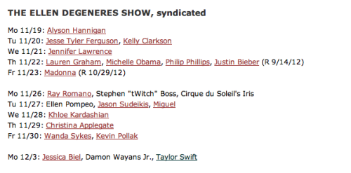jencita:  Taylor will be on the Ellen Show on December 3rd. Possibly they will just be airing the Begin Again performance they didn't air before.  Hmm yeah guessing that'll be it. Didn't they do something similar before?
