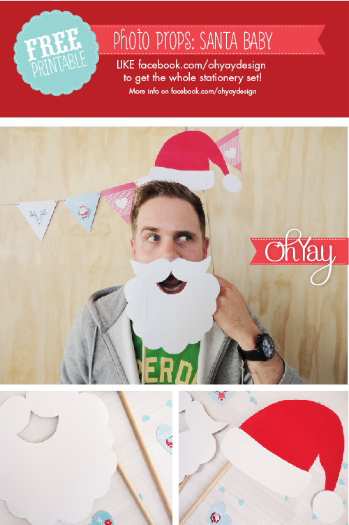 ohyaydesign:  Free Santa baby props! A photobooth always makes for great photos and even greater memories! Visit www.facebook.com/ohyaydesign to get your free photobooth printables!  Do this for pre-christmas event? Look interesting..