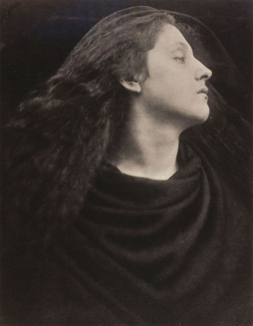 liquidnight:  Julia Margaret Cameron Call, I follow, I follow, let me die! (Mary Hillier) Carbon print, 1867 From Julia Margaret Cameron's Women