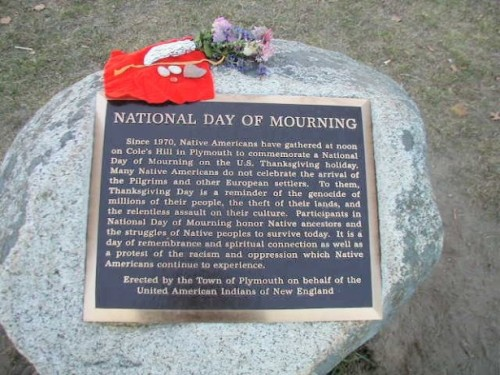 United American Indians of New England Commemorate a National Day of Mourning on Thanksgiving For the past 42 years, members and supporters of the United American Indians of New England (UAINE) have assembled every Thanksgiving at Cole's Hill in Plymouth, Massachusetts, to commemorate a National Day of Mourning.