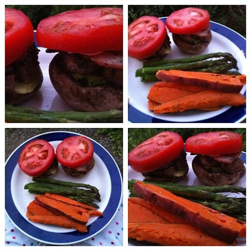 "Paleo sliders photo shoot. BECAUSE YOU CARE SO MUCH. What you need to spend your hard earned money on:  Sliders (aka mini burgers): 2 smallish portobello mushrooms 1 burger patty (I split 1, but you could easily use 2) 2 pieces of bacon Mustard (it's so hard to find sugar-free mustard! Even regular ""american mustard"" has sugar in it!!! So many exclamations! But it's annoying!!) 1/2 avocado 2 slices of tomato Sides: Bushel of asparagus 1/2 sweet potato OR, whatever you desire                                     Dancing the dance in the kitchen Sliders (aka mini burgers): Turn oven up to ""hot"" (<— I'm such a pro-fesh) Then microwave asparagus & sweet potato (poke holes in the sweet potato before you microwave it) Place the asparagus & sweet potato on a baking tray, with olive oil and herbs sprinkled on top (add garlic if you ain't lip-locking with anyone that night) Place in oven & leave for about (<— again, so profesh) 1/2 an hour Sliders: Cook beef patty & bacon on the stove top/bbq (also lightly sautée the 2 mushroom tops Add mustard, avocado, tomato to the top of the mushrooms. Then add beef/bacon EAT! VOILA!"
