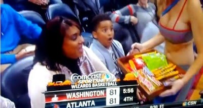 @BobsBlitz: 10-year-old is quite pleased with this Atlanta Hawks Cheerleader