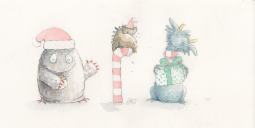 Some of the Christmas Monsters for cards this year! ^_^