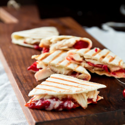 gastrogirl:  turkey quesadillas with chipotle cranberry sauce.