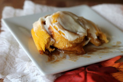 gastrogirl:  pumpkin cinnamon roll with brown butter cream cheese frosting.