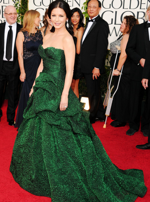 Red Carpet look of the day: (146/365) Catherine Zeta-Jones wearing a Monique Lhuillier dress at the 2011 Golden Globe Awards.