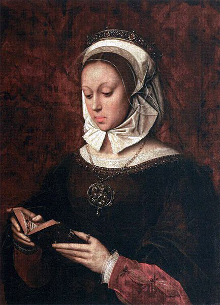 masterpiecedaily:  Ambrosius Benson Young Woman in Orison Reading a Book of Hours 1520s
