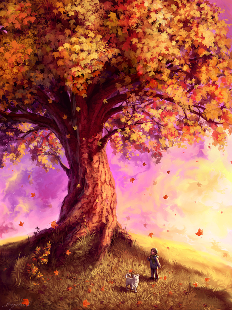 paintvrlife:  by ~Mar-ka  #Beautiful #Autumn #Tree