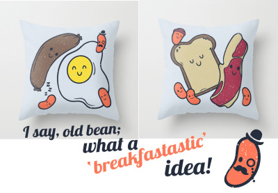Treat yourself to breakfast in bed every morning with my 'B&B' pillows now available at Society 6!