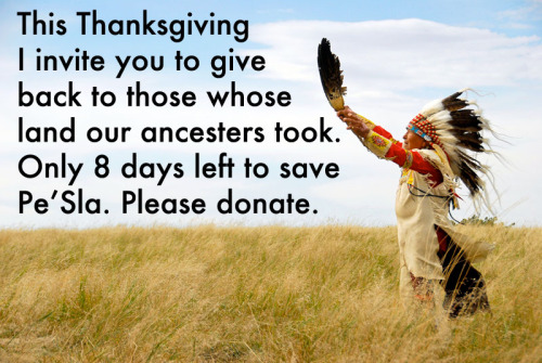 smokinhotmess:  [Image: This Thanksgiving I invite you to give back to those whose land our ancestors took. Only 8 days left to ave Pe'Sla. Please donate] rocketeam:  Learn more / Donate here!  OMG THIS! If you can donate to this, please do. It's so important. If you care about anti-racism, if you consider yourself anti-colonialist, if at any point today you lamented the reprehensible origins of this holiday, please consider donating.  They are once again raising money to save Pe'Sla, and so far have only raised forty some odd thousand dollars. Please donate if you can for all the reasons listed above.