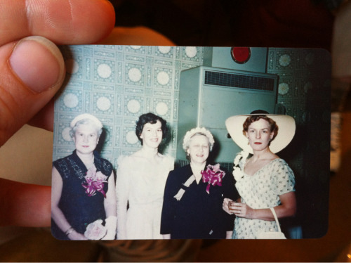 My grand mother is the one on the right. How terrific is this picture? I went to visit my grandfather at his nursing home today and totally got lost in his amazing collection of old photographs.