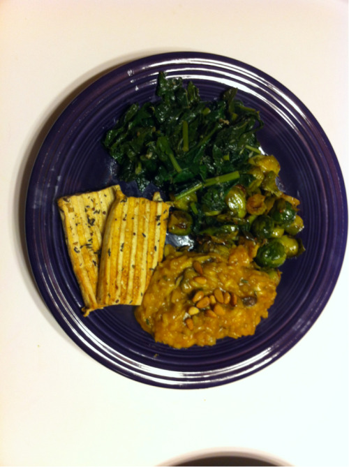 Our gluten-free vegan meal: pumpkin mushroom risotto, grilled tofu, @whateverjeanne's roasted brussel sprouts & garlicky kale.