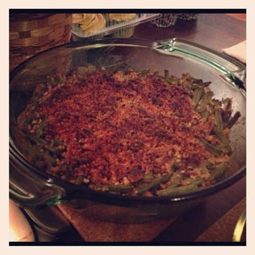Green Bean Casserole, another year and my top was a bit too browned.  Still tasty!  #vegan #thanksgiving #vegansofig #veganfoodshare