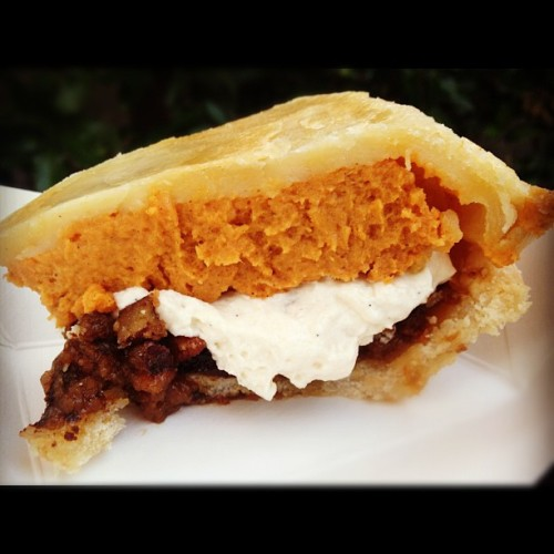 Don't worry, I solved it everybody. Pecan/sweet potato PIE SANDWICH.