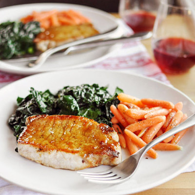 Sage and Brown Sugar Glazed Pork chops with recipe (link)