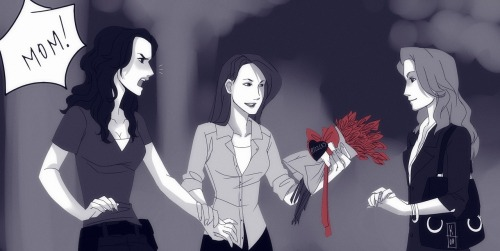 kendaoh:   As I promised t.t some Rizzles! on dA http://kenda-oh.deviantart.com/art/A-little-help-for-you-Girls-339201214?ga_submit_new=10%253A1353635432   OH MY GOD THIS IS AWESOME. For a second I thought it was Angela giving Maura the gifts from herself… I'd ship it.