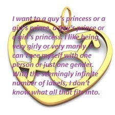 "Purple writing: ""I want to a guy's princess or a girl's prince, a guy's prince or a girl's princess. I like being very girly or very manly. I can't see myself with one person or just one gender. With the seemingly infinite  number of labels, I don't know what all that fits into."""