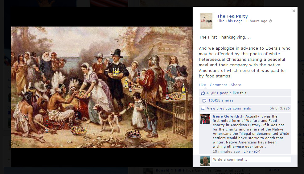 jaspersboy:  Yes, The Tea Party shared an advertising photo for beer and pizza to their Facebook wall. Source: The Tea Party