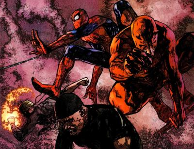 alexhchung:  Daredevil, Spider-Man, Iron Fist, & Luke Cage by Alex Maleev