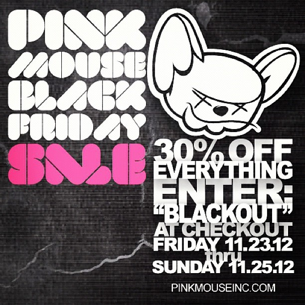 PINK MOUSE x Black Friday Sale!! We decided to start early, starting in 10 minutes thru Sunday, 30% off everything in our online shop. Enter code - BLACKOUT - at checkout. www.pinkmouseinc.com -  Hoodies. Hats. T's. Tanks. Everything. #streetwear #fashion #style #blackfriday #sale #skate #skating #skateboarding #street #steez #swag #tshirts #hats #hoodies #pinkmouse #art #black