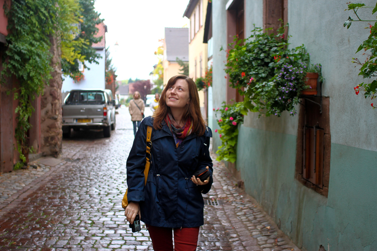 Anna walking through the streets of a French village: 2012.