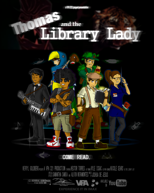 """Movie Poster"" of my VPA 321 Class' presentation : Thomas  and the Library Lady"
