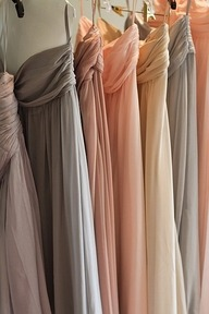 Bridesmaids dresses each a different shade!