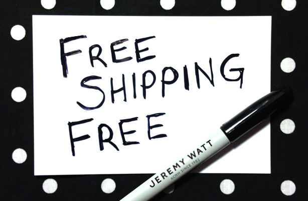 Free Shipping, Free Sharpie on now at jeremywatt.com