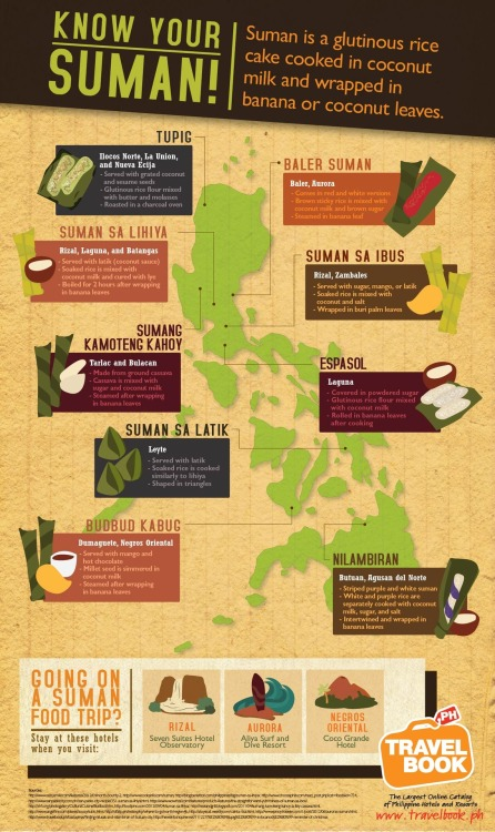 Suman sa Lihiya and Suman sa Latik. :> pinoytumblr:  travelbookph: Go on a suman food trip in the Philippines!