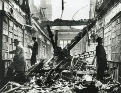 yama-bato:  Holland House Library, London, after a German air raid in October 1940.