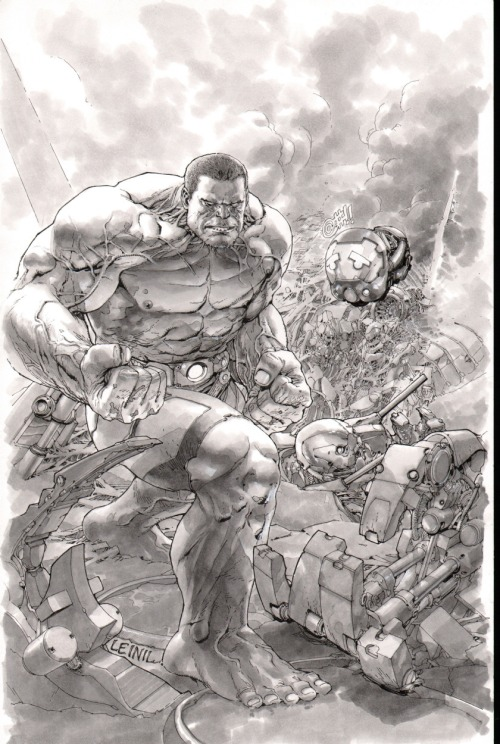 Without trade dress (or colour!), here's the cover art to Indestructible Hulk #1 by Leinil Yu, just out this week.