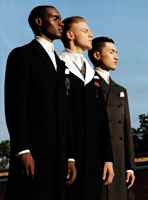 The Fall: Corey Baptiste, Lenz von Johnston & Wang Rui in Prada Fall 2012 Menswear; photographed by Mei Yuan Gui for GQ Style China, Fall/Winter 2012/13.