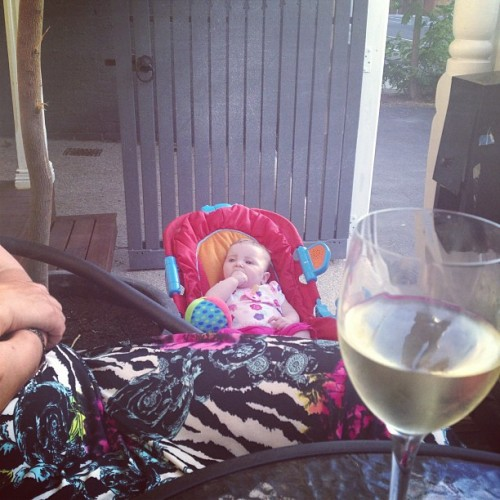 Wine on the front porch with the ladies.