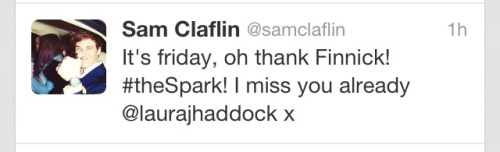 Can we just take a second to appreciate how Sam got in his usual Finnick/Friday (TFIF) tweet, #thespark hashtag for Catching Fire & missing his fiancé in about 11 words?
