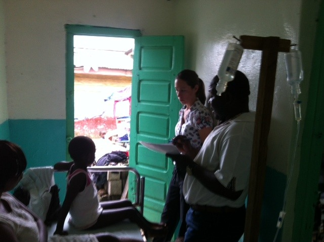 Allison Brown giving medical consult in small clinic in Equatorial Guinea, Africa