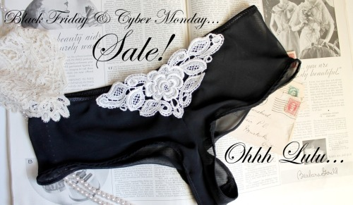 Black Friday / Cyber Monday Sale! Receive 15% off all Made to Order Lingerie with Coupon Code CYBER12 . Offer valid Friday, November 23 - Monday November 26. Excludes gift certificates & sewing patterns <3