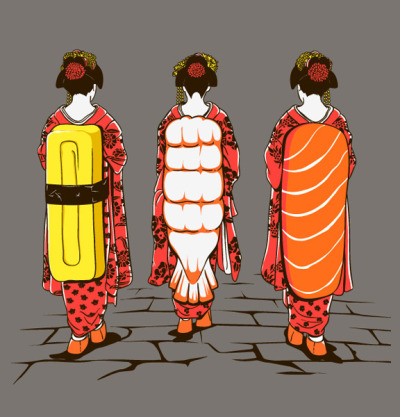 "dailysushi:   Guest Artist: ""Sushi Ladies"" by Chow Hon Lam For more of  Chow Hon Lam's work, you can visit his Tumblr and Facebook."