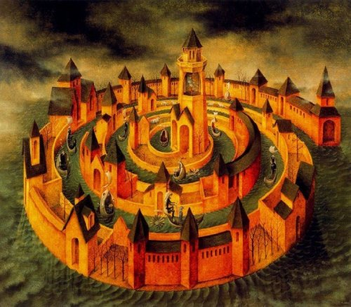 composition-improvisation:  Remedios Varo, Spiral Transit, c. n/d