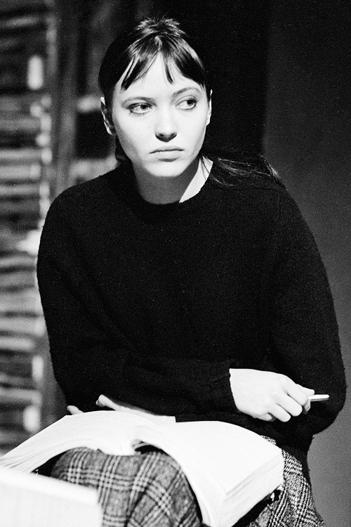 Anna Karina on the set of Bande á Part, 1963.