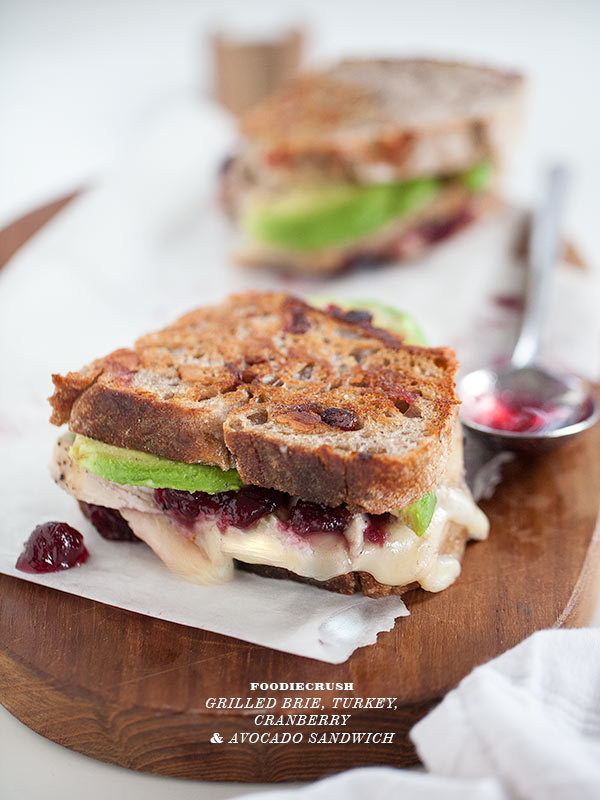 turkey, cranberry, and brie sandwiches with avocado.