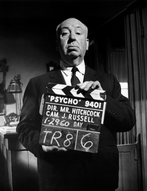 Alfred Hitchcock on the set of Psycho. January 29th, 1960.